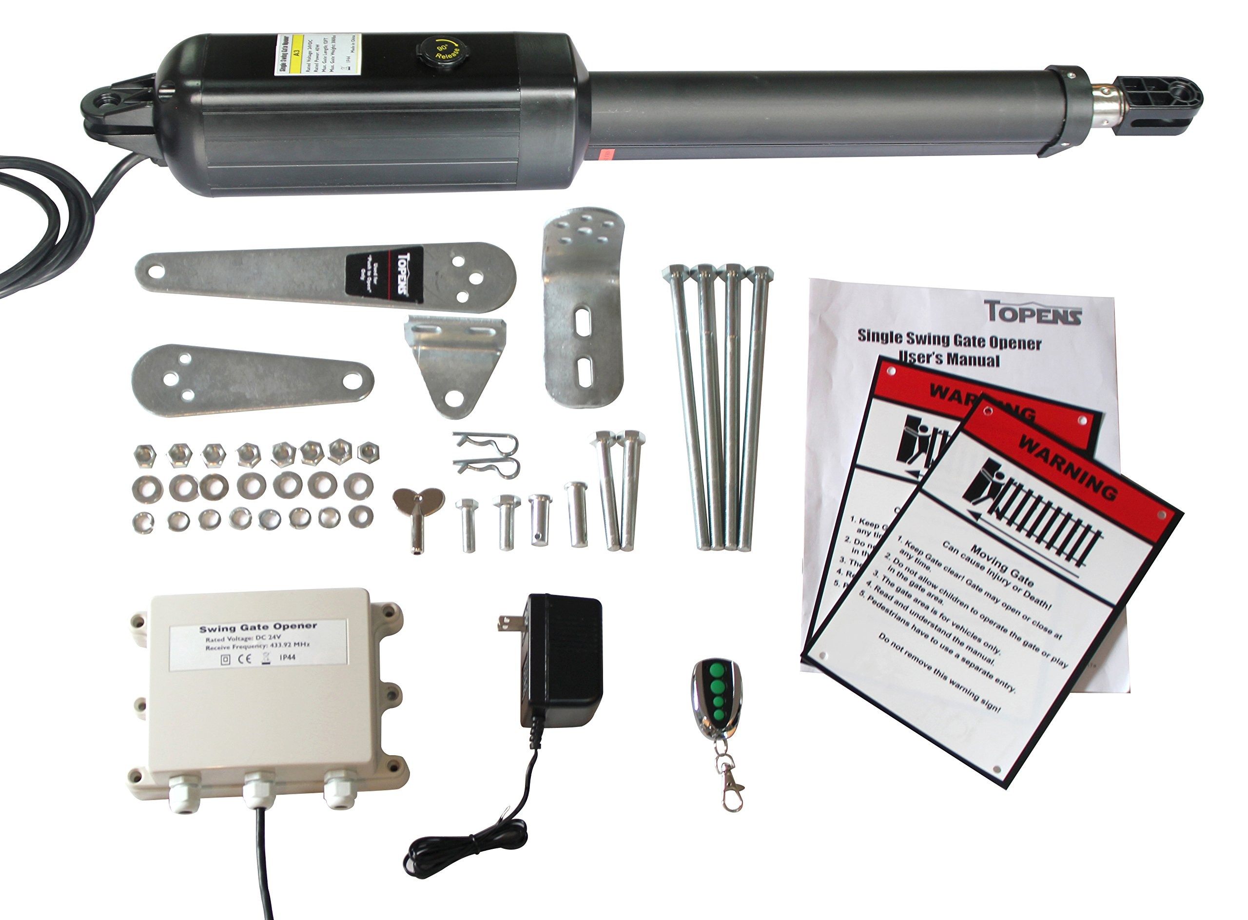 TOPENS A3 Automatic Swing Gate Opener with Free ''Push to Open'' Bracket for Single Swing Gate Up to 300lbs or 12 Feet Gate Operator