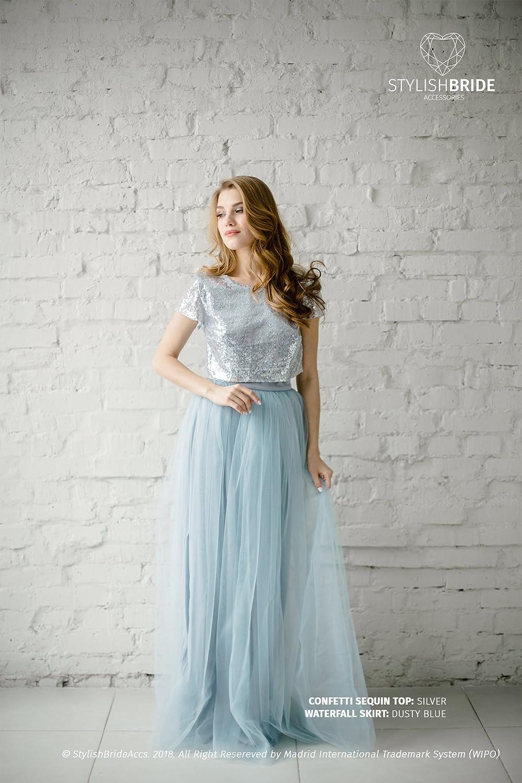3eddc25e7e4 Amazon.com  Silver Sequin Tulle Bridesmaid Dress with Dusty Blue  136 Tulle  Skirt