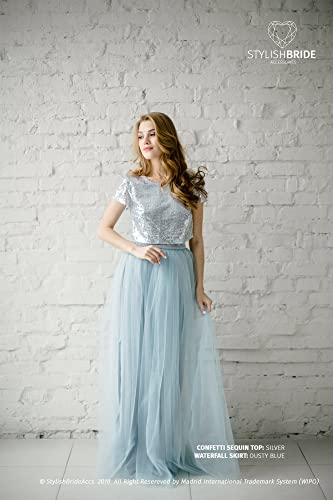 Amazon.com: Silver Sequin Tulle Bridesmaid Dress with Dusty ...