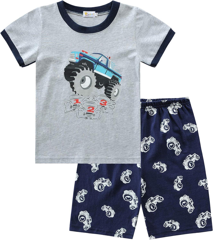 EULLA Jungen Schlafanzug Set Neuheit Cartoon Dinosaurier Bagger Nachtw/äsche Kurzarm Pyjamas Outfit