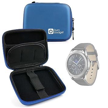 DURAGADGET Excelente Funda Rígida para Smartwatch Garmin Forerunner 35 / Samsung Gear S3 / Tomtom Touch/Adventurer/Runner 3 + Mini Mosquetón - Azul