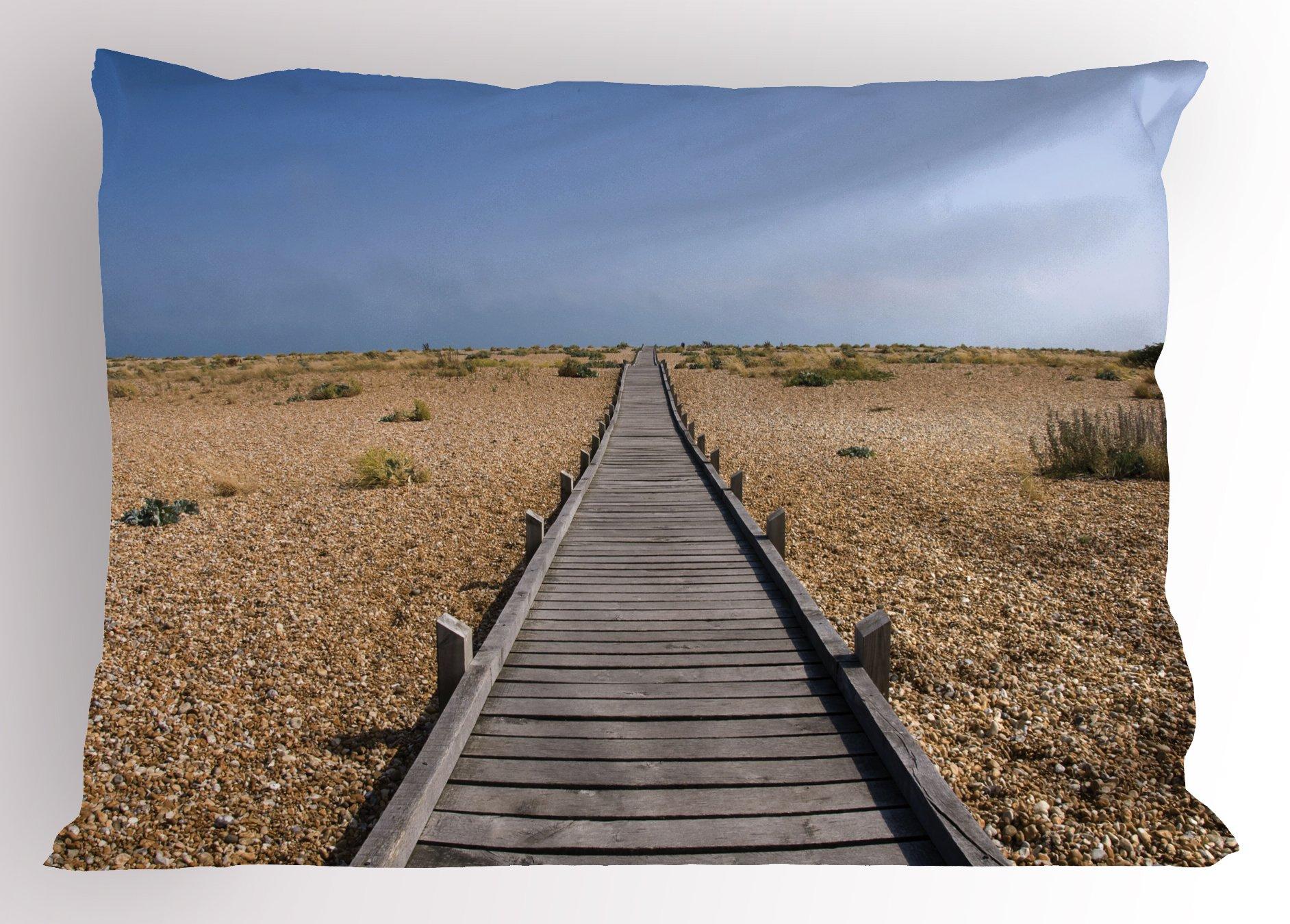 Lunarable Beach Pillow Sham, Raised Wood Boardwalk Across a Pebble Coastline Stone Endless Road Nature Theme, Decorative Standard King Size Printed Pillowcase, 36 X 20 inches, Blue Brown Cream by Lunarable (Image #1)