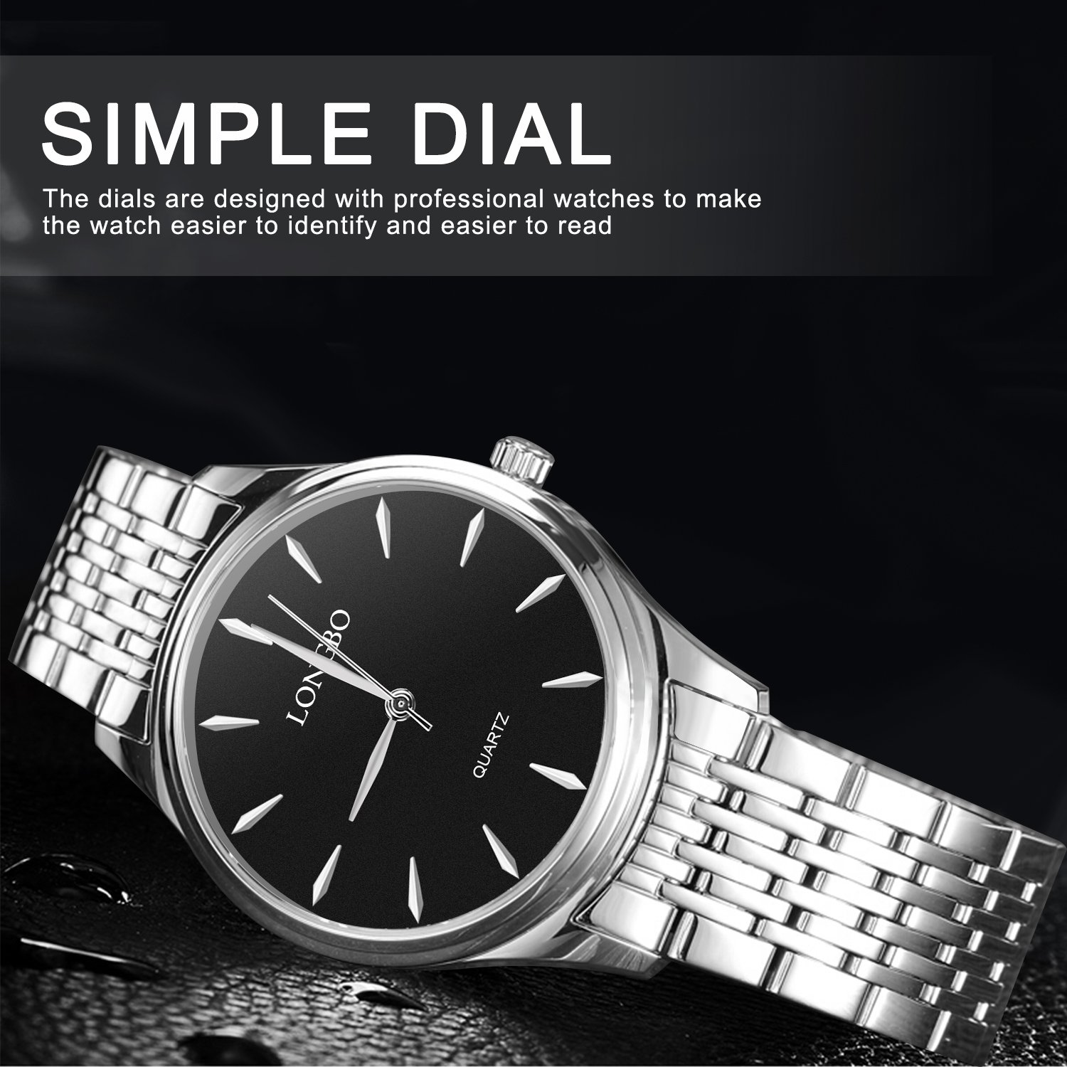 Mens Watches,LONGBO Couple Watches Stainless Steel Band Watch Dress Business Wrist Watches Fashion and Waterproof Watches for Men(Men)