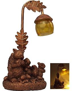 Figura de ardilla con luz solar y luz LED para jardín