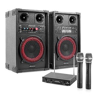 Star-Mitte Equipo de Karaoke Altavoces PA con micrófonos (400W Potencia Maxima, Reproductor MP3 Desde Puerto USB - SD, Incluye micros inalambricos con ...