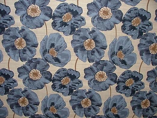 Flandes Floral azul estor cortina de algodón para tapicería cojín ...