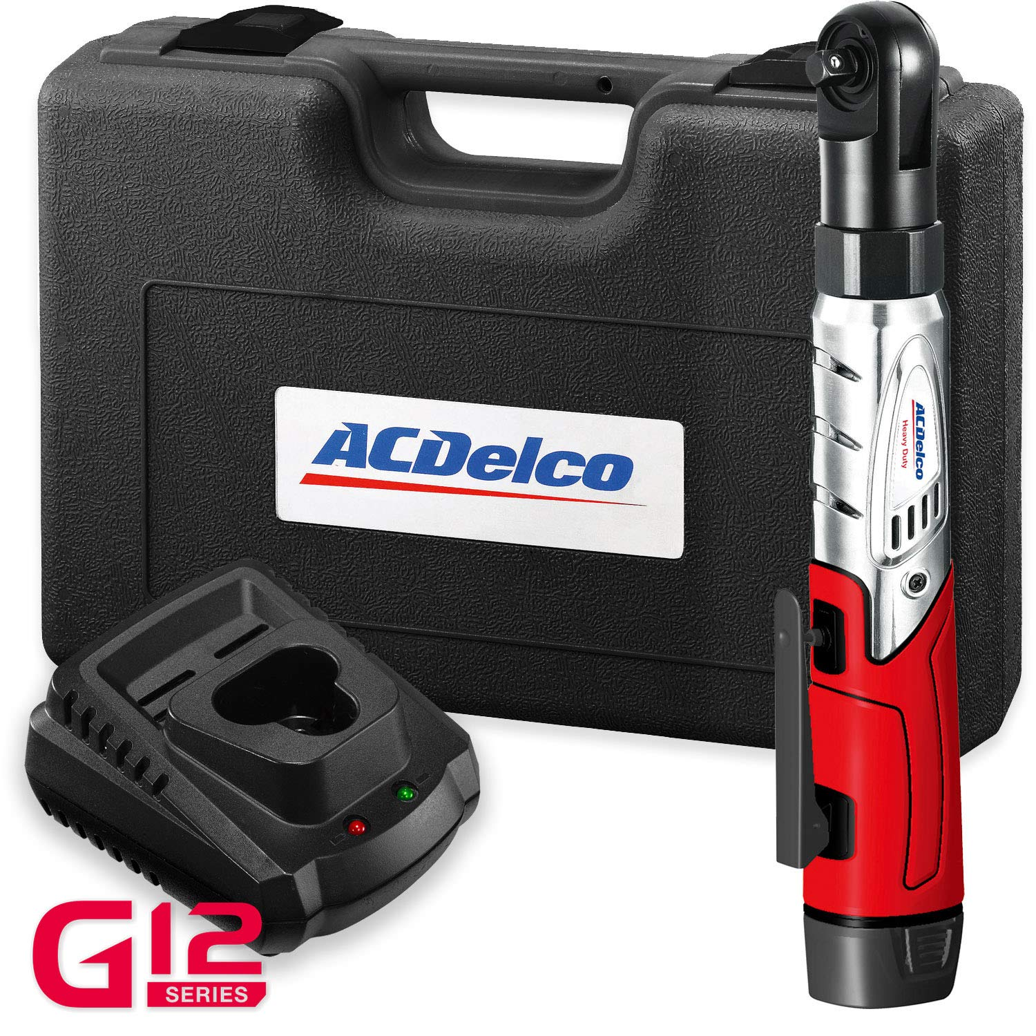 ACDelco Cordless 3/8'' Ratchet Wrench 12V Angled 55 ft-lb Tool Set with 1 Li-ion Batteries - Regular Charger - Carrying Case
