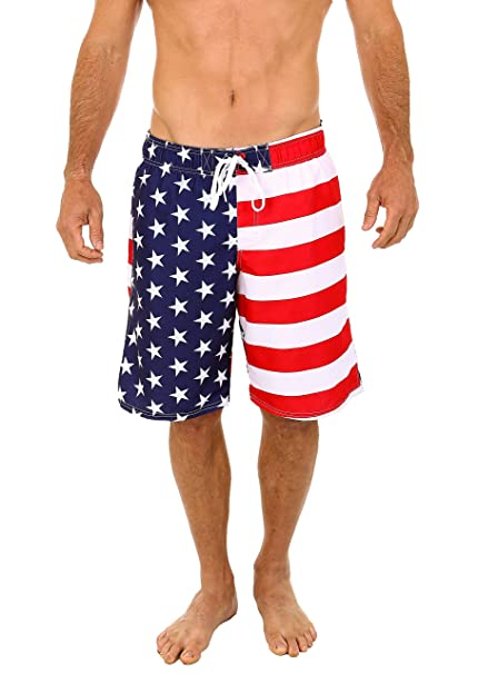 feb7a9156a UZZI Men's Patriotic USA American Flag Swim Trunks (Small) | Swimming Shorts  for Men