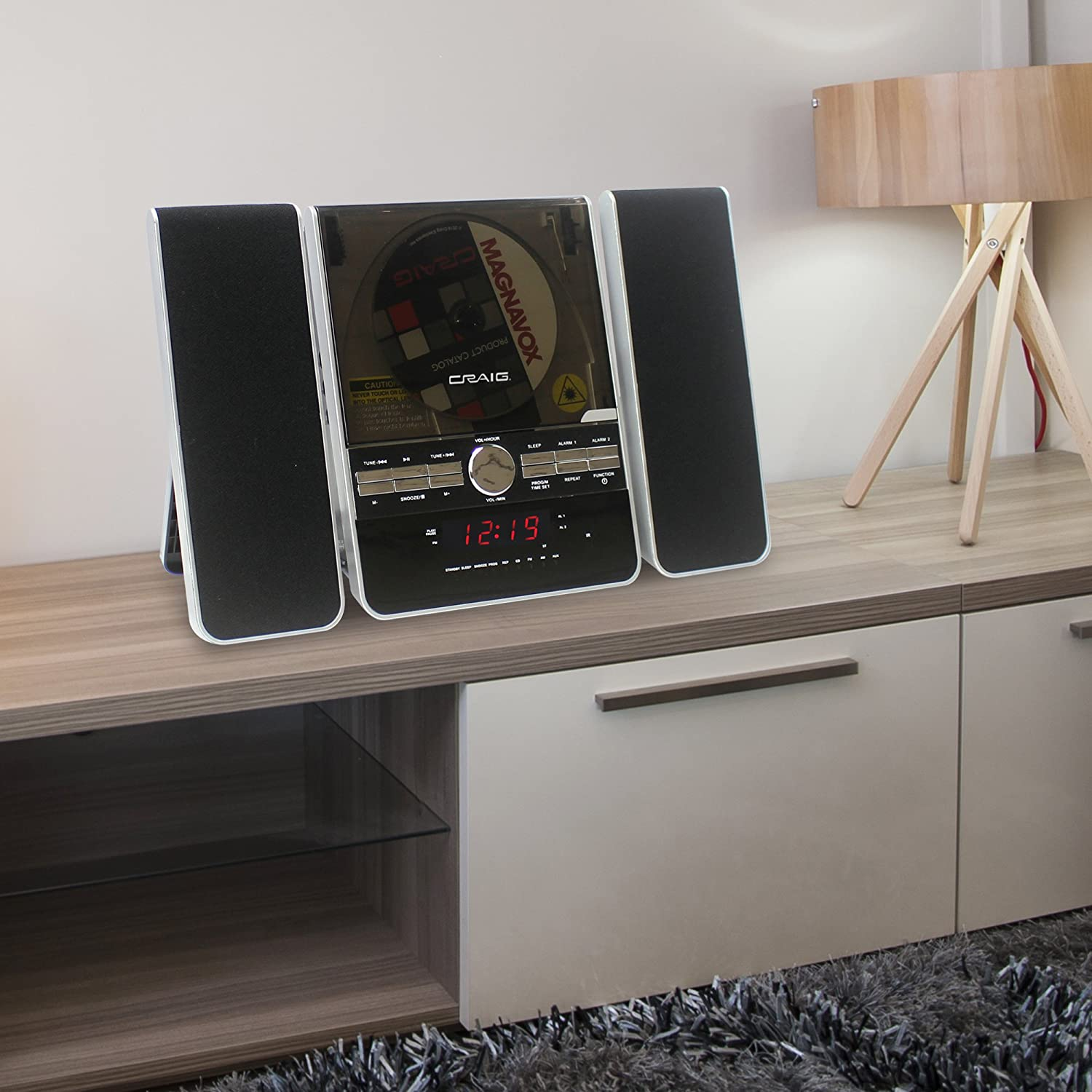 Craig Vertical CD Shelf System with AM//FM Stereo Radio and Dual Alarm Clock,