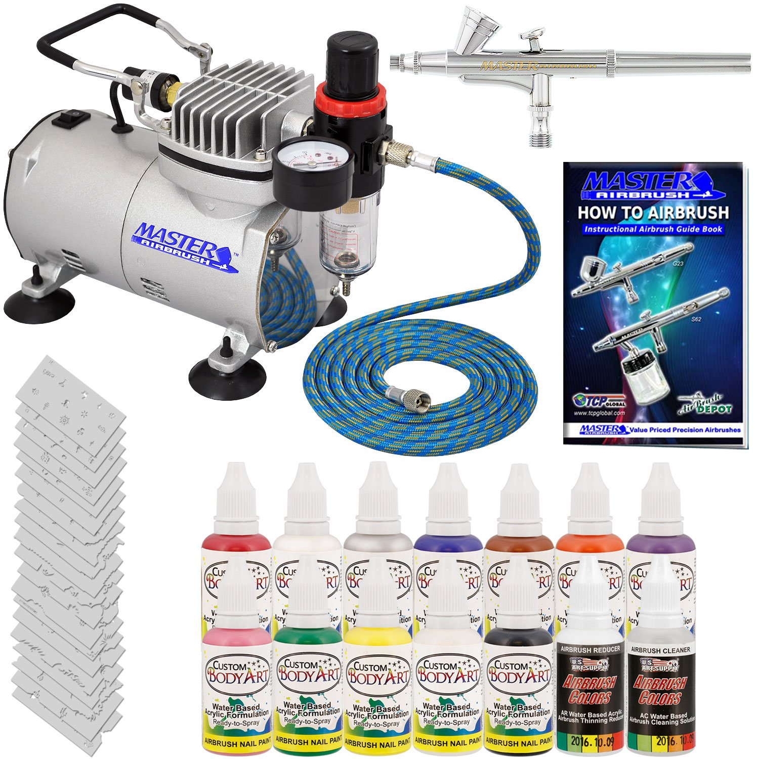Amazon master airbrush brand finger nail decorating system 1 airbrush air compressor stencil set of over 100 designs 6 hose kit of 12 popular nail paint colors in 2 oz bottles airbrush cleaner prinsesfo Choice Image