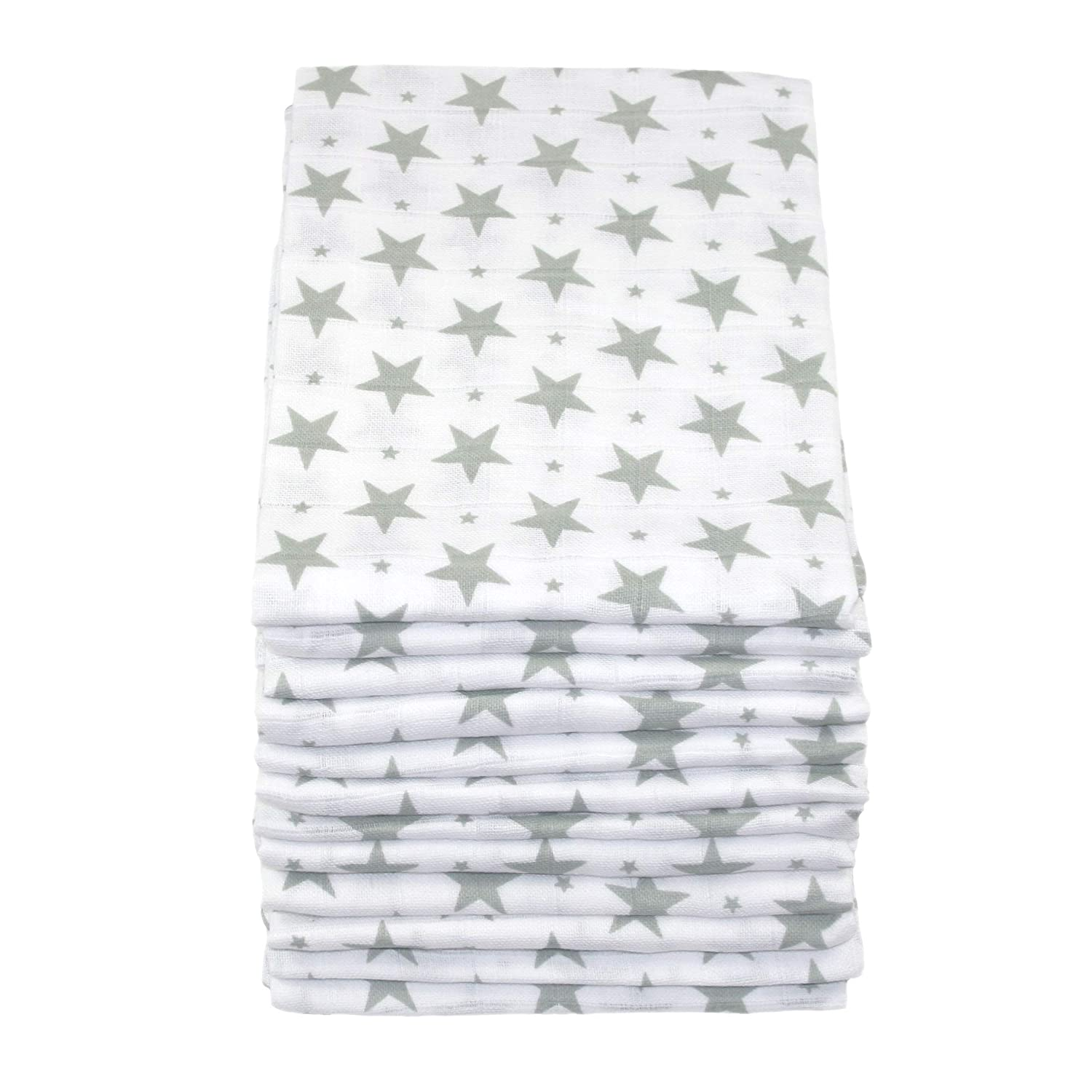 Muslinz Premium High Quality Baby Muslin Squares Grey Star Pack of 12