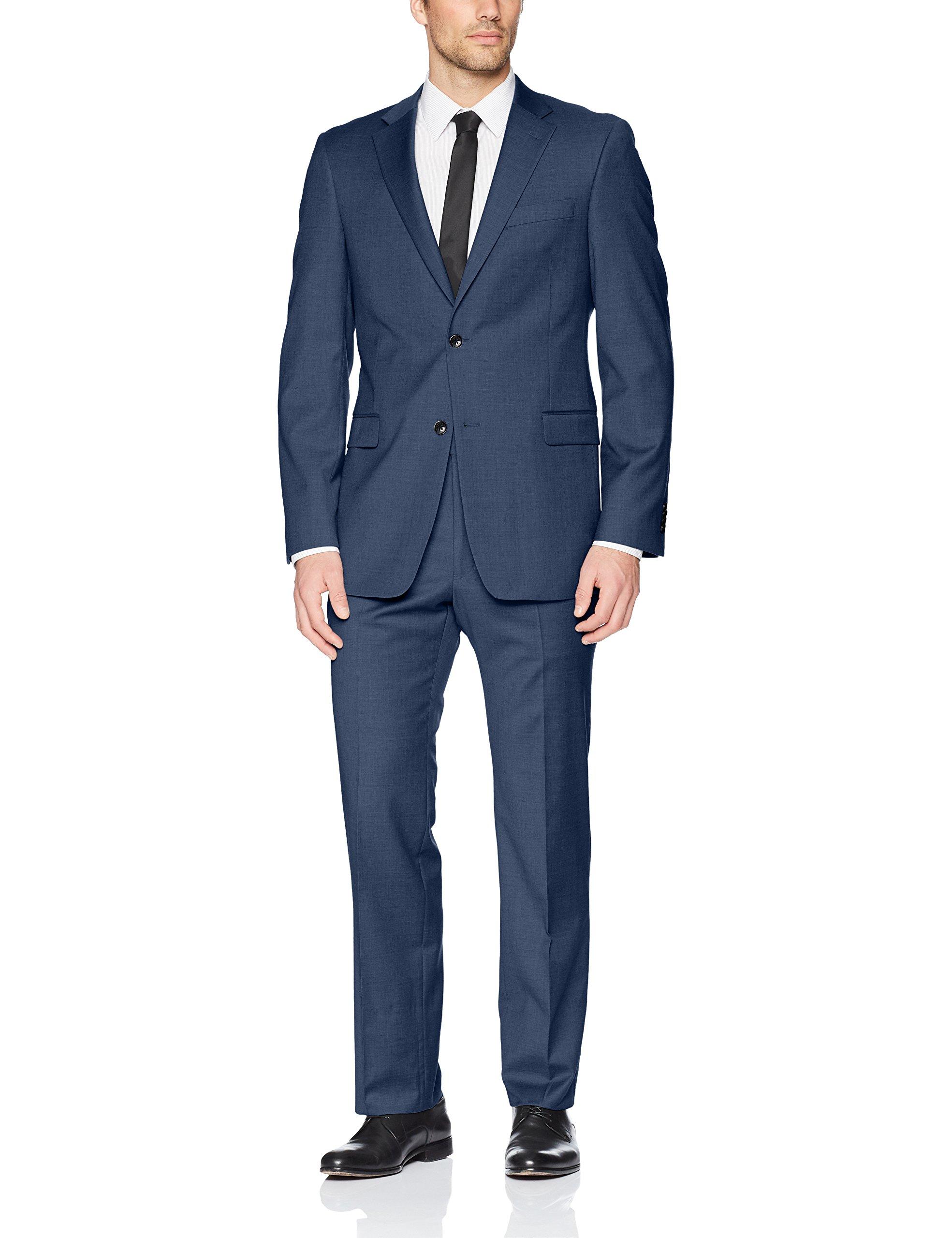 Tommy Hilfiger Men's Modern Fit Performance Suit with Stretch, Blue Sharkskin Pattern 44 Regular