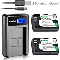 Kastar Battery (X2) & LCD Slim USB Charger for Canon LP-E6, LP-E6N, Canon EOS 60D 60Da EOS 70D XC10, EOS 5D Mark II 5D Mark III 5D Mark IV, EOS 5DS 5DS R, EOS 6D 7D Mark II and BG-E14 BG-E13 BG-E11 BG-E9 BG-E7 BG-E6 Grip