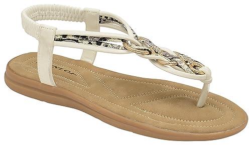 468bdbc7287cfe Dunlop Ladies Women s Summer Folk Round Clip Toe Sandals Beach Flip Flops  Flat Elastic T-Strap Post Thong Sandals Shoes  Amazon.co.uk  Shoes   Bags