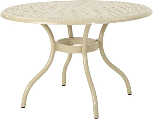 Christopher Knight Home 305653 TSA Outdoor Cast Aluminum Round Dining Table, Sand