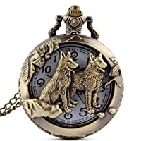 Mens Retro Wolf Quartz Pocket Watch with Chain for Man + Box