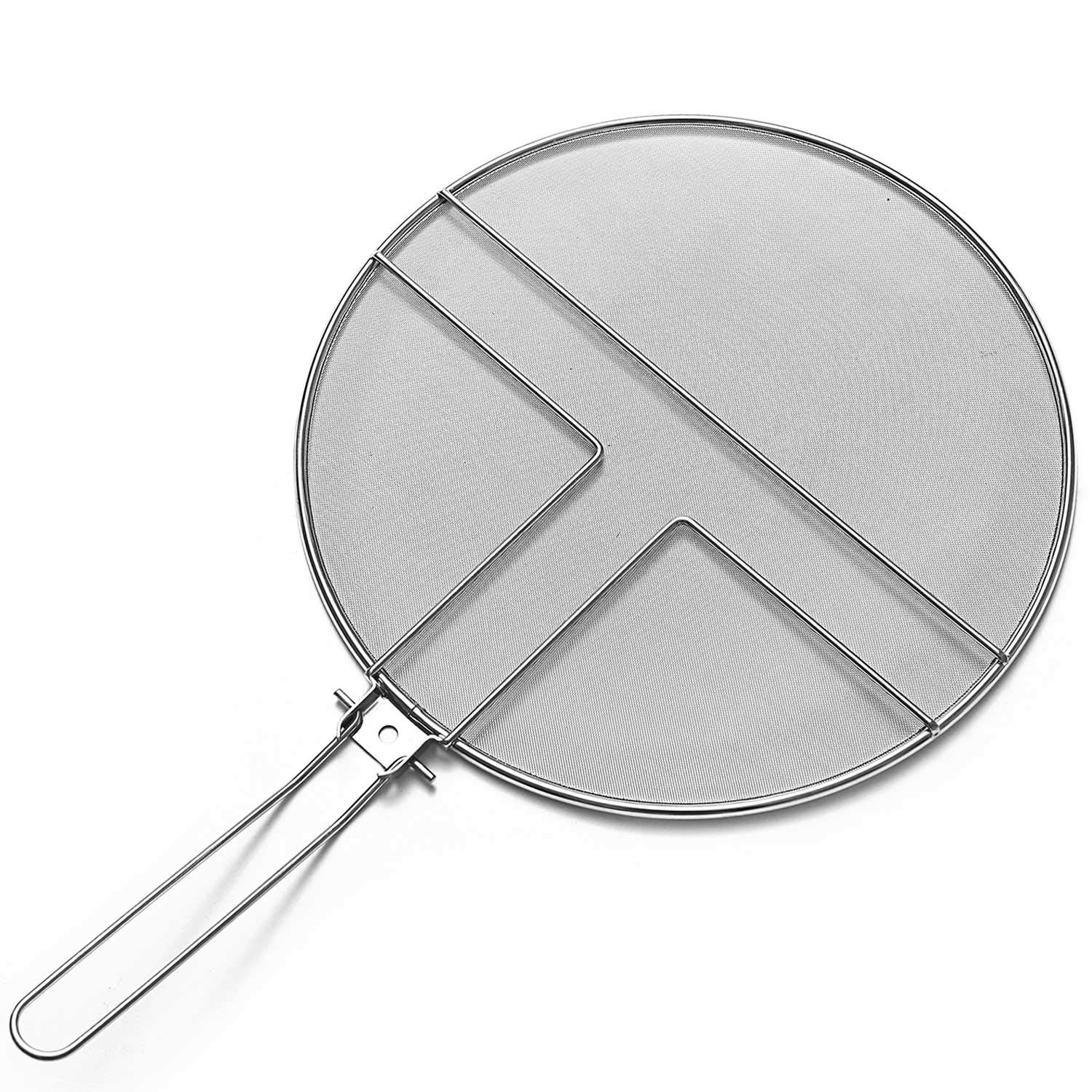 13 inch Grease Splatter Guard by Centh Skillet Stainless Steel Splatter Screen for Frying Pan Folding Handle for Cooking or Cast Iron with Mesh Grease Pan Cover-Heavy Duty Round Frying Pan (13 inch)