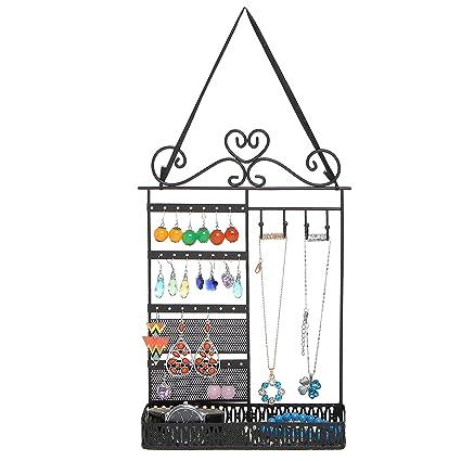 Amazoncom Black Metal Scrollwork Design Hanging Jewelry Organizer