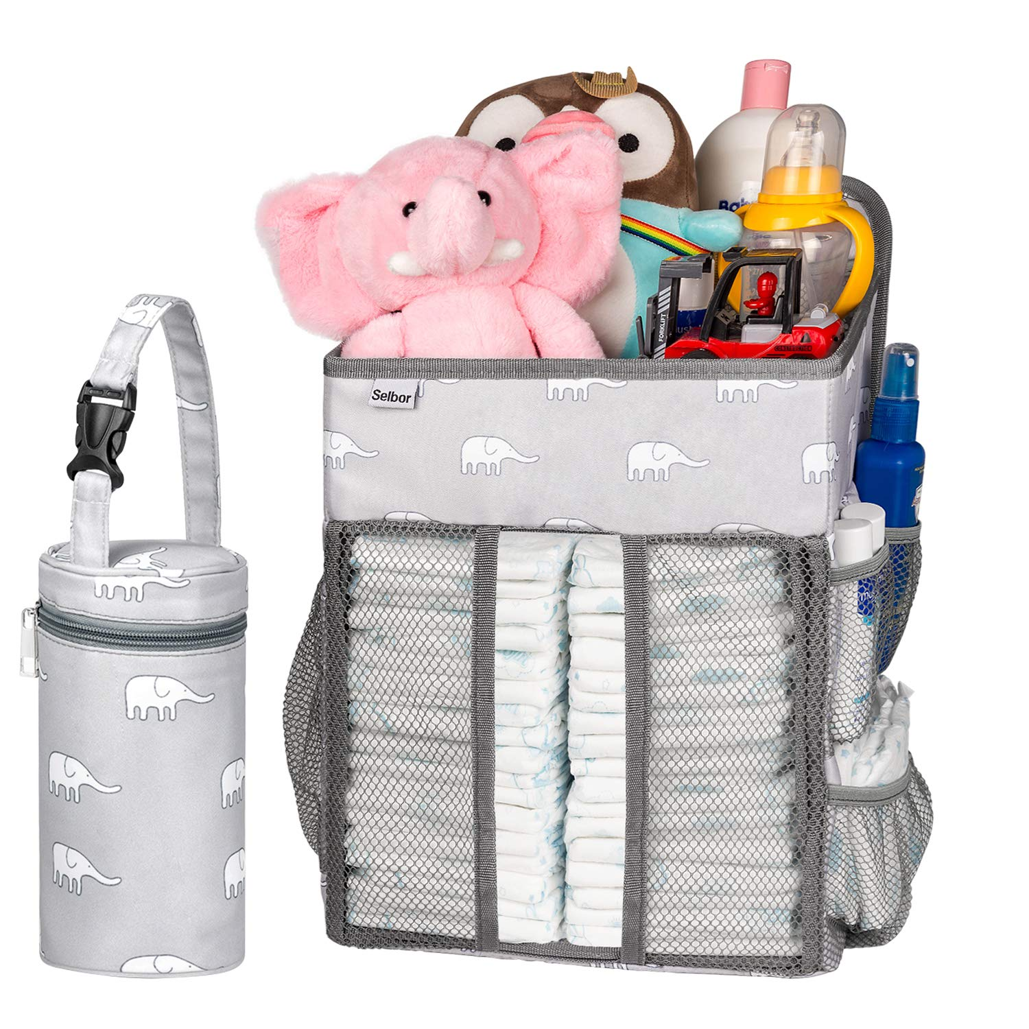 Hanging Nursery Organizer and Baby Diaper Caddy, SELBOR Diapers Stacker Storage Bag for Changing Table, Crib, Playard or Wall   Baby Shower Gifts for Newborn, Gift Baby Bottle Cooler Bag Included by Selbor