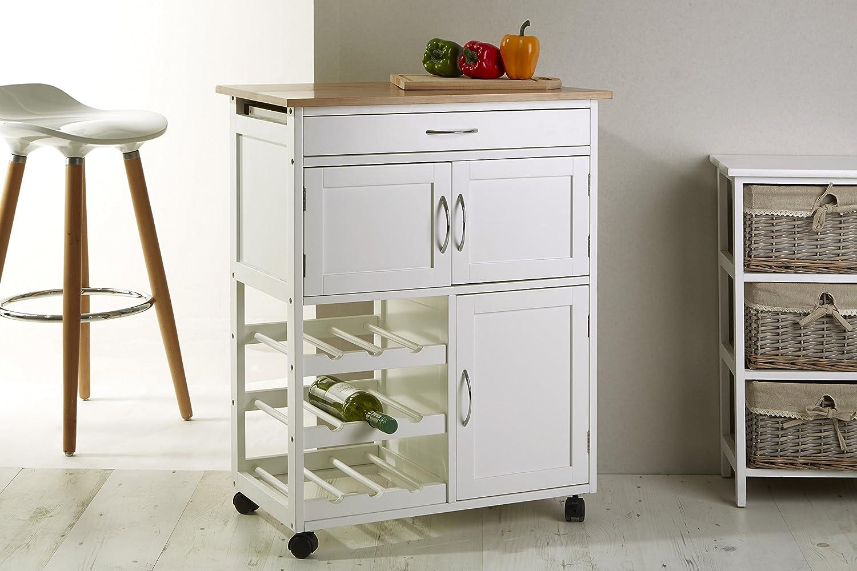 Premier Housewares 2403411 Carrello da Cucina, Bianco e Top in ...