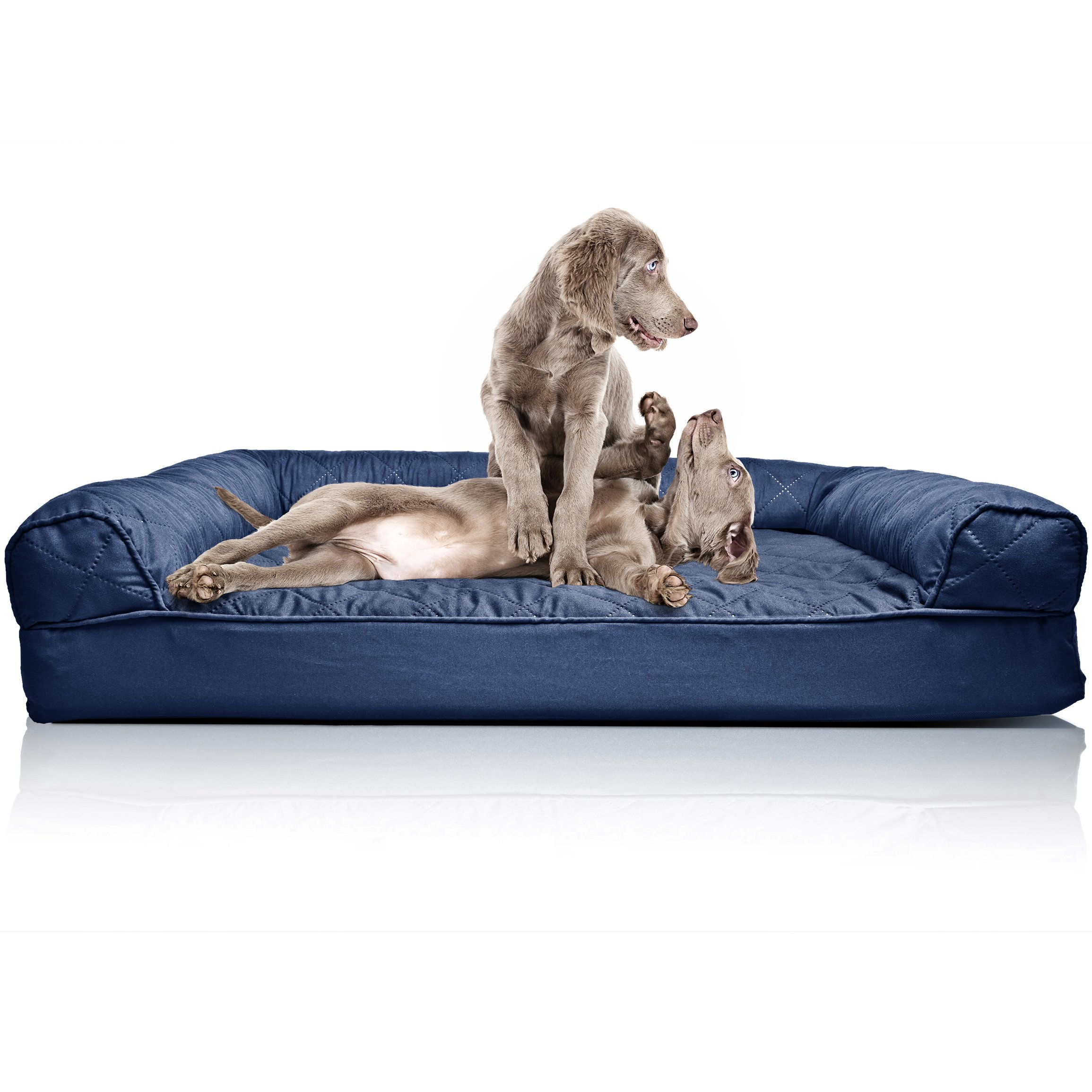 Furhaven Pet Dog Bed | Orthopedic Quilted Traditional Sofa-Style Living Room Couch Pet Bed w/ Removable Cover for Dogs & Cats, Navy, Jumbo by Furhaven