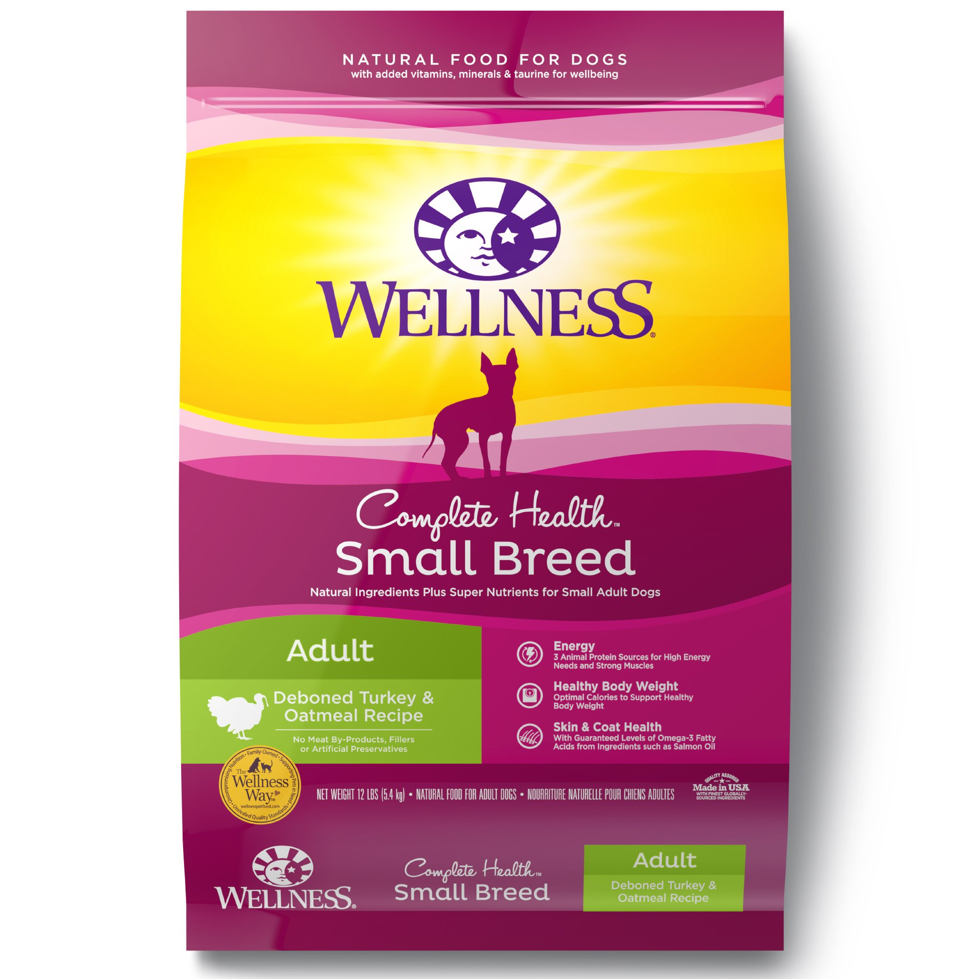 Wellness Complete Health Natural Dry Small Breed Dog Food, Turkey & Oatmeal, 12-Pound Bag by Wellness Natural Pet Food
