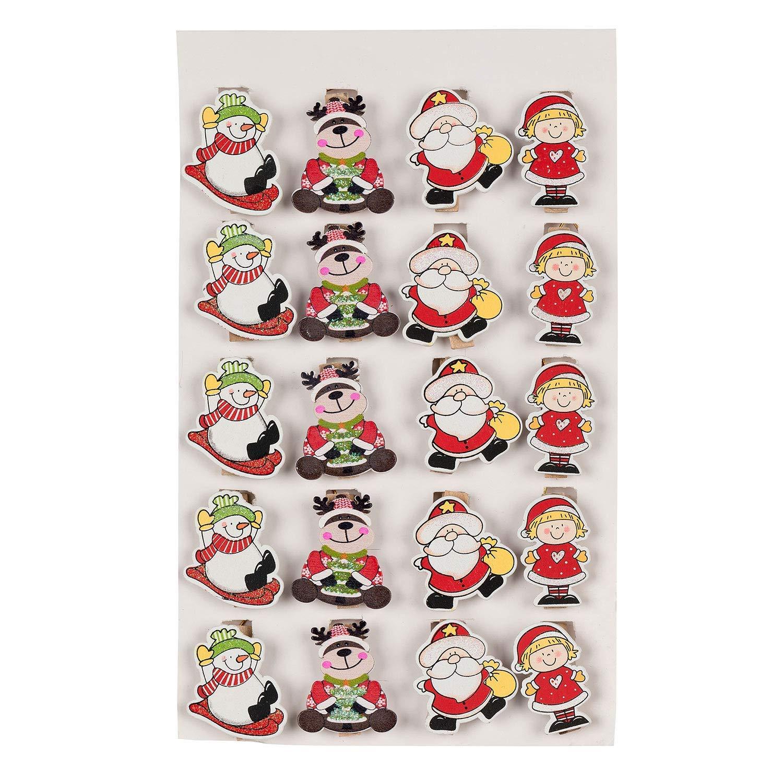TRIXES 20PC mollette di Legno di Natale di Carta –  Design Xmas Assortiti –  Renna Santa Snowman –  con Pendente con Filo Dorato, 180 cm 180cm XMS120