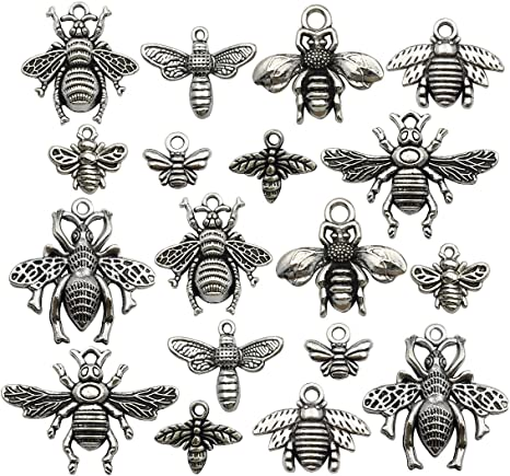 Antique Bronze Tibetan Metal HONEY BEE Insect Charms Pendant Beads Craft Cards M