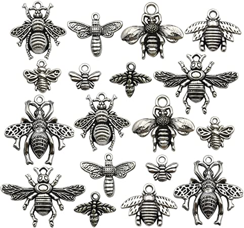 Healifty 20pcs Antique Silver Charm Pendant Bee Shape Spacer Beads DIY Jewelry Making Accessory for Necklace Bracelet
