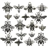 Honeybee Charm -80pcs Craft Supplies Antique Silver Bee Charms Pendants for Crafting, Jewelry Findings Making Accessory for DIY Necklace Bracelet Earrings m119