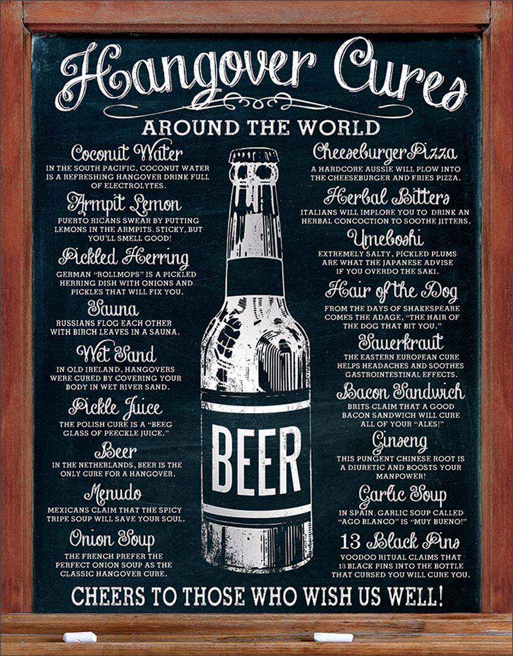 "Desperate Enterprises Hangover Cures Tin Sign, 12.5"" W x 16"" H"