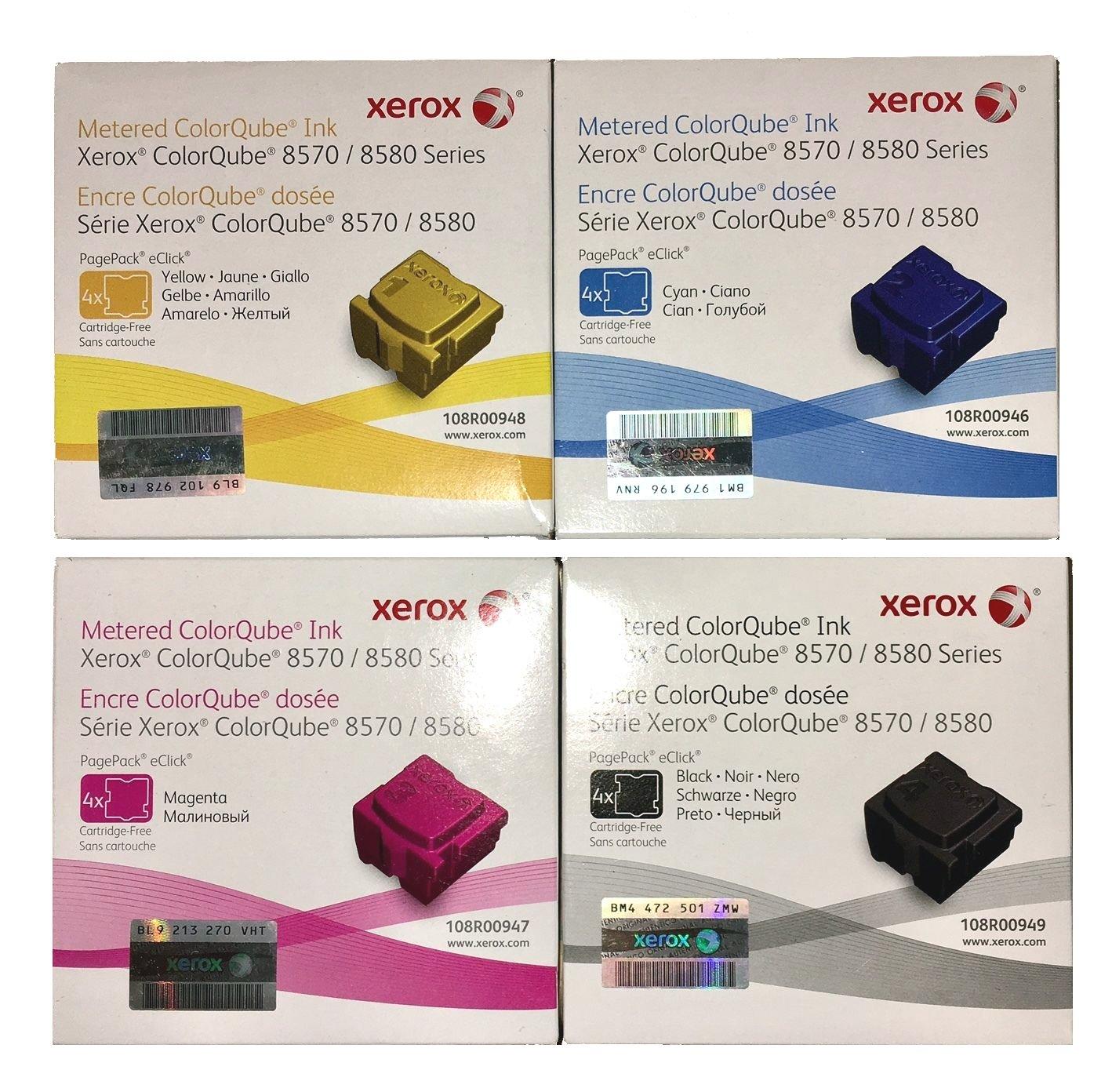 Genuine Xerox METERED 4 Color set for ColorQube 8570 8580 108R00946 108R00947 108R00948 108R00949