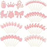 48 Pieces A Girl Cupcake Toppers Baby Shower Cake Cupcake Toppers Picks for Birthday Girl Party Decorations, Glitter Pink