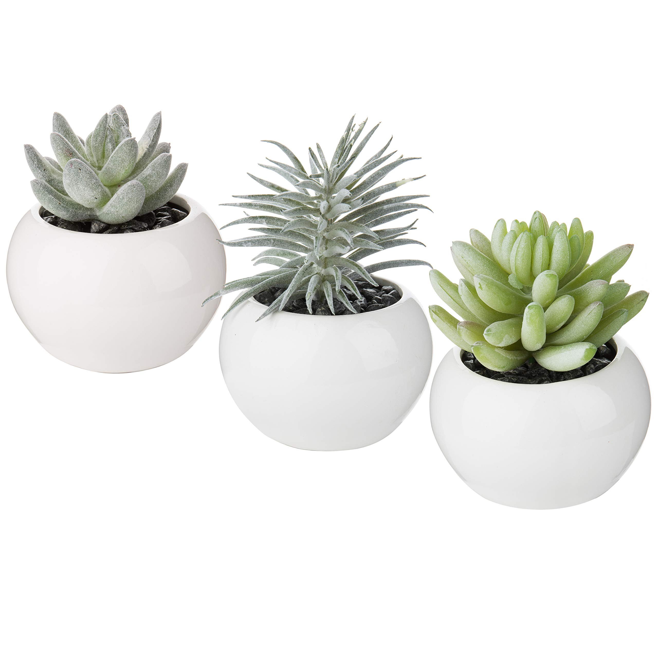 MyGift 4-Inch Artificial Succulent Plants in Mini White Ceramic Pots, Set of 3