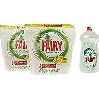 Fairy Hepsi Bir Arada 240 Yıkama Bulaşık Makinesi Deterjanı Kapsülü, Limon Kokulu, 120 x 2 + Fairy 1400 ml Losyon