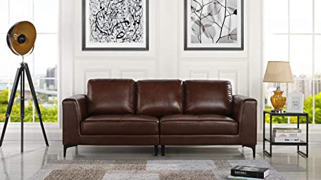 Amazon.com: Mid Century Modern Upholstered Leather Sofa ...