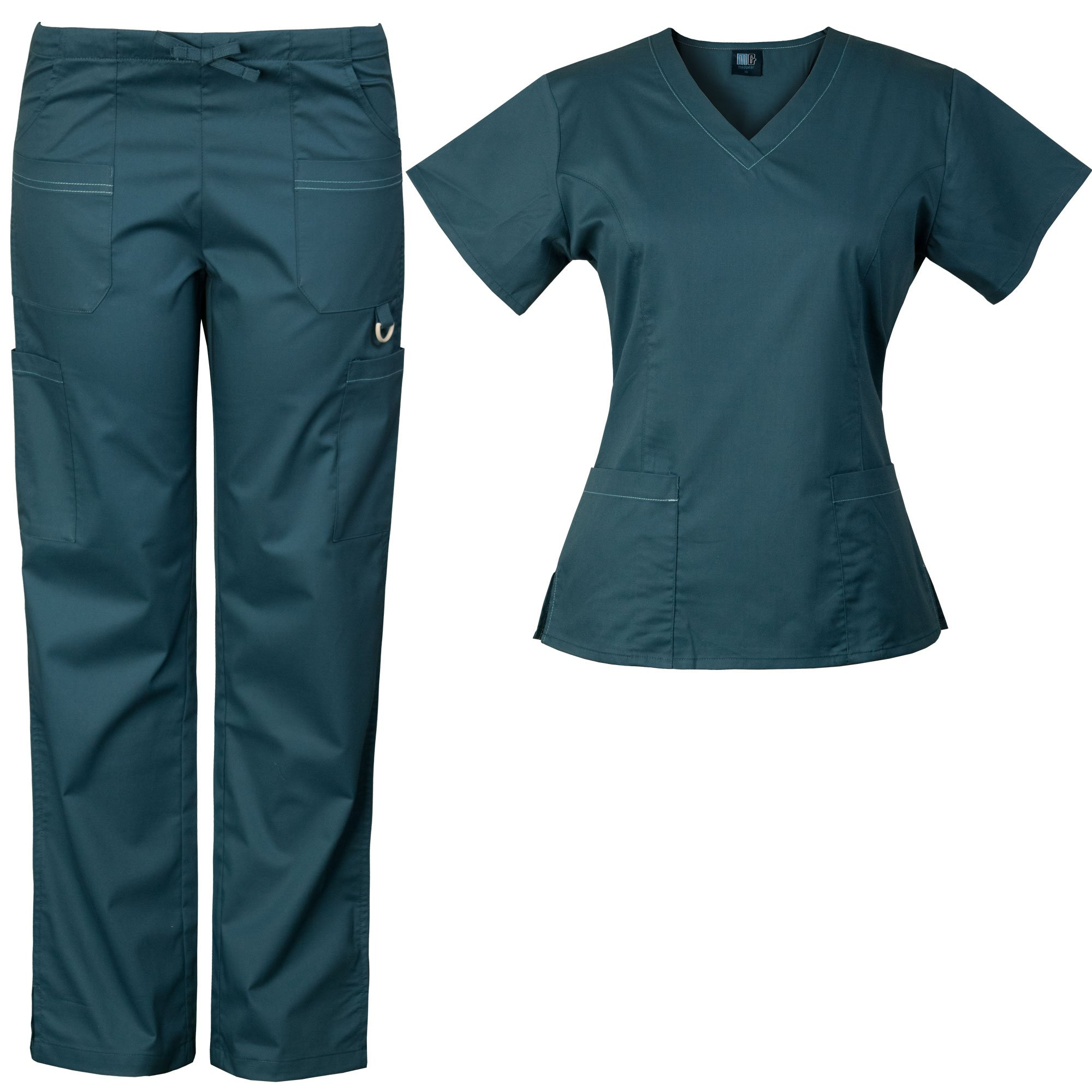 Medgear Women's Solid Scrubs Set Eversoft 2-Way Stretch Fabric 7895ST (L, Carribean)