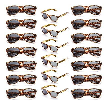 Onnea 20 Piezas Gafas de Sol Fiesta Colores Paquete Años 80 para Mujer Hombres (20 Leopardo)