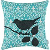CaliTime Canvas Throw Pillow Cover Case for Couch Sofa Home Decor, Cartoon Shadow Bird Branch Geometric 18 X 18 Inches Black Teal