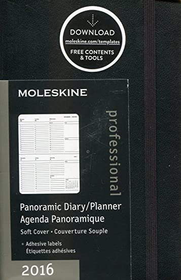 Moleskine 2016 Panoramic Planner, 12M, Pocket, Black, Soft Cover (3.5 x 5.5)