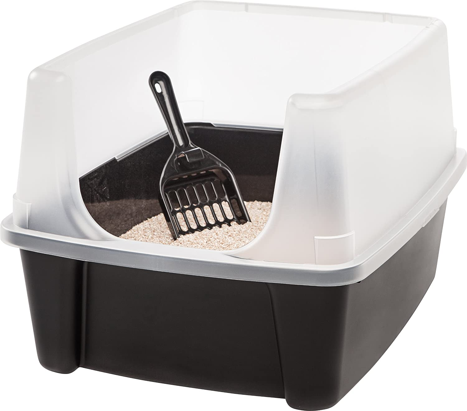IRIS Open Top Cat Litter Box with Shield and Scoop