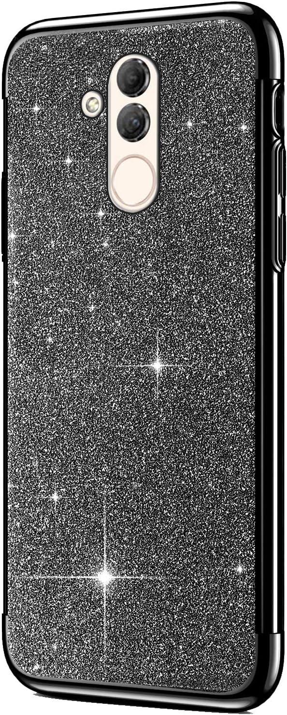 Tre Strati Ultra Sottile Morbida Silicone Gel Trasparente Bumper Gomma Protettiva,Rosa YSIMEE Compatibile con Cover Huawei Mate 20 Custodia,Custodie Glitter Bling Scintillante Brillantini