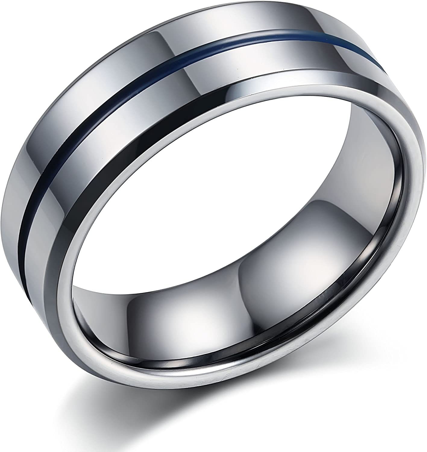 Tungary Jewelry 8mm Mens Tungsten Carbide Wedding Band Engagement Groove Blue Line High Polish Size 7-14