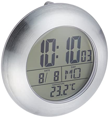 Charmant Hito 6.8u201dLarge Waterproof Bathroom Shower Clock Wall Silver Aluminum Date  Day Indoor Temperature Suction