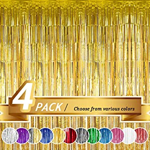 BTSD-home Gold Foil Fringe Curtain, Metallic Photo Booth Backdrop Tinsel Door Curtains for Wedding Birthday Bridal Shower Baby Shower Bachelorette Christmas Party Decorations(4 Pack, 12ft x 8ft)