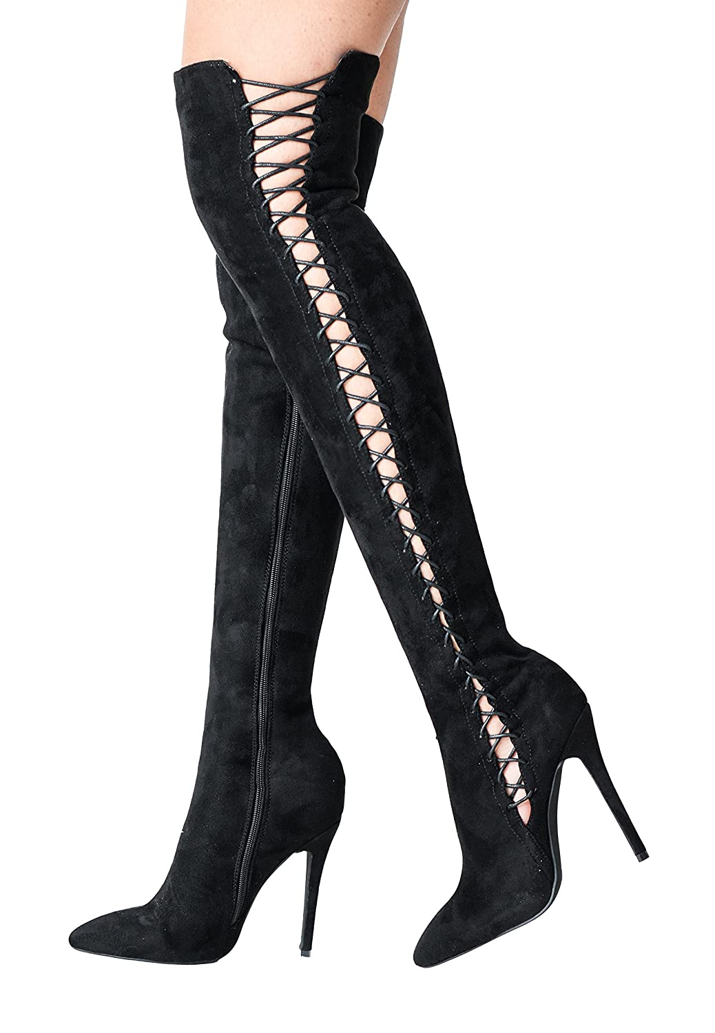 1b963dbdcef Lily s Boutique Womens Over The Knee Faux Suede Lace Up Thigh High Long  Boots Black Pointed Heeled Boots Stiletto Pointy Boots Sexy Boots   Amazon.co.uk  ...