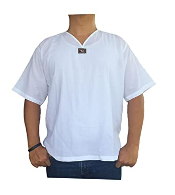 07b2d0d0a0e Amazon.com  Ni On Made in Thailand 100% Cotton White Color Short sleeve  tshirt Men For Holiday Beach Yoga Hippie  Clothing