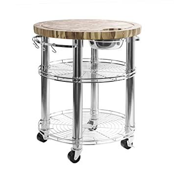 Seville Classics Rolling Solid-Acacia Wood Butcher Block Top Kitchen Island  Cart with Storage, 30\
