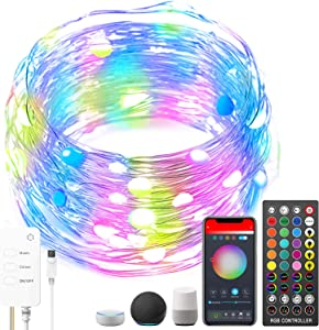 ACCEDE 32.8ft LED Fairy Lights Compatible with Alexa, 100LED Wireless Smart App Control RGB Fairy String Light Kit with Remote Music Sync for Room TV Kitchen Home Party Christmas Decor
