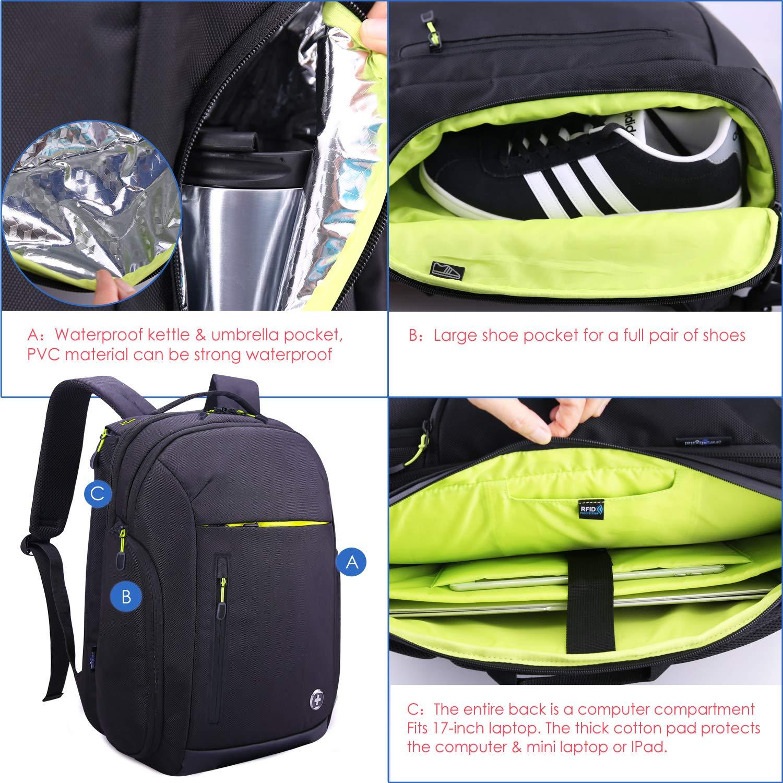 Swissdigital 40L Large Travel Laptop-Rucksack Wasserdichter Rucksack Anti-Diebstahl 17 Zoll Laptop Taschen mit USB Ladeanschluss//RFID Schutz Gep/äcktasche Schwarz